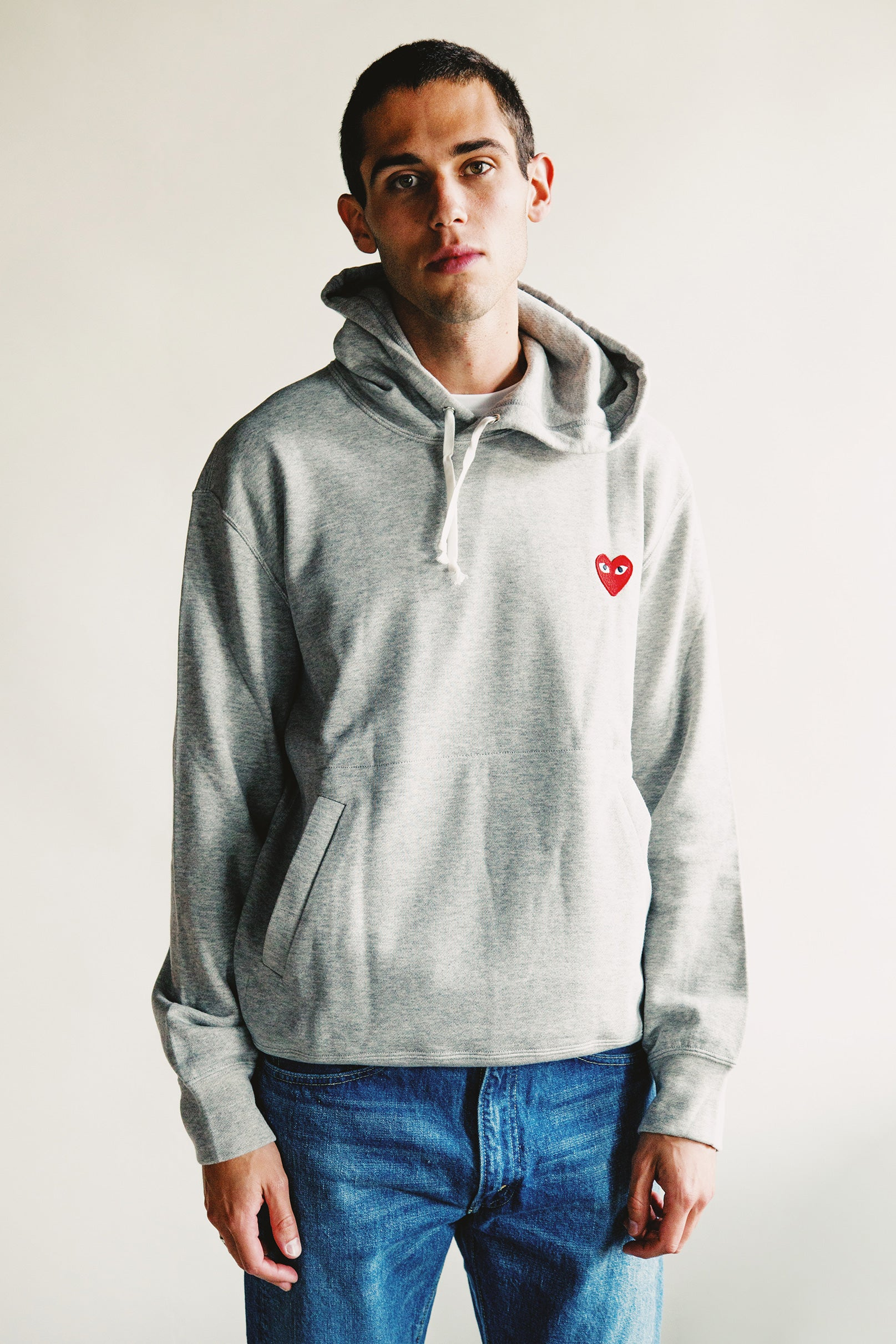 Comme des Garçons PLAY - Red Heart Hooded Sweatshirt- Grey - Canoe Club