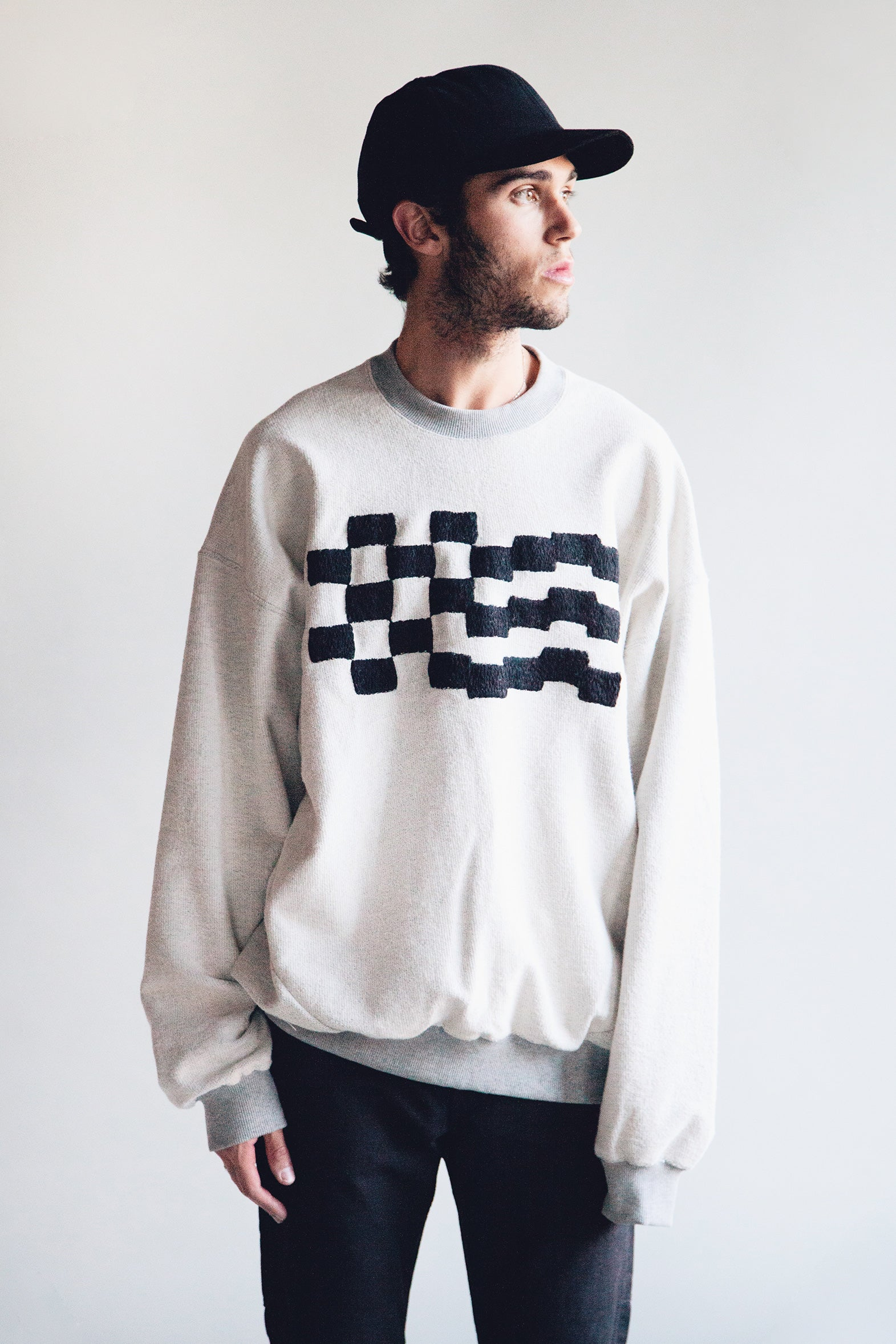Noma t.d. - Checkered Embroidered Sweatshirt - Gray - Canoe Club