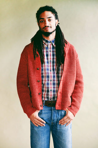 rrl ralph lauren Linen-Cotton Shawl Cardigan - Red