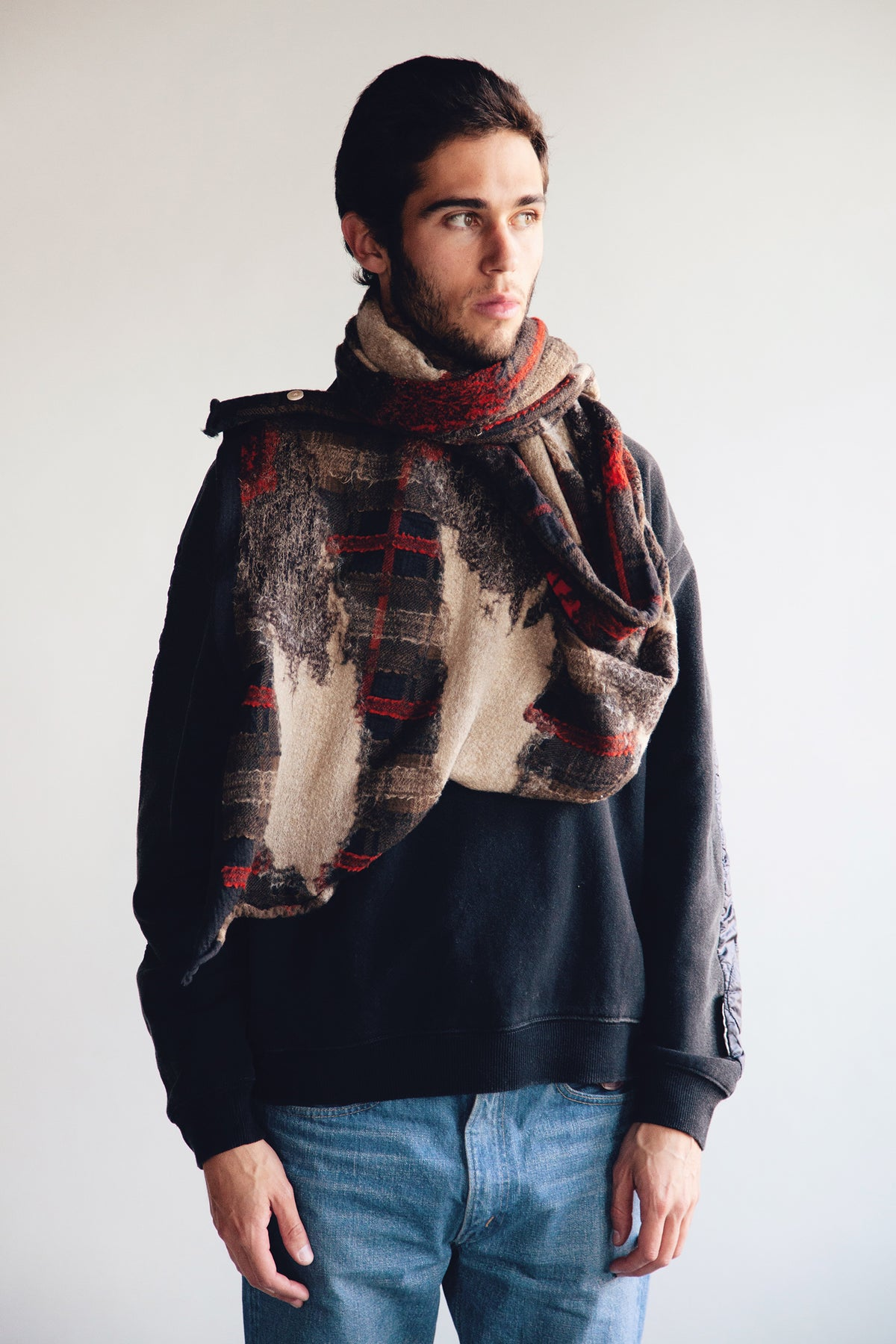 Compressed Wool Scarf - FEATHER TARTAN Black