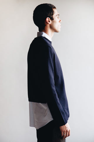 comme des garcons shirt Fully Fashioned Knit Gauge 10 Wool Sweater - Navy