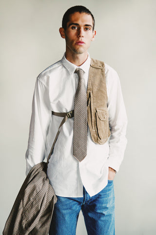 engineered garments Short Collar Shirt - White Cotton Oxford