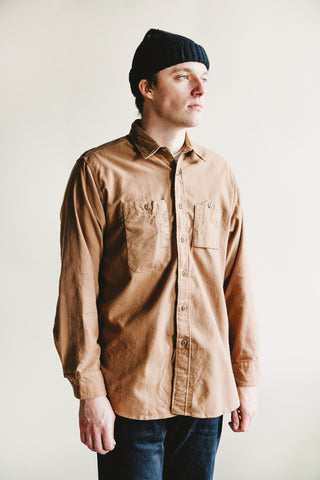 engineered garments Work Shirt - Khaki Solid Cotton Flannel