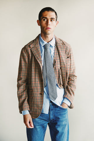 engineered garments Loiter Jacket - Tan/Orange Wool Big Gunclub check