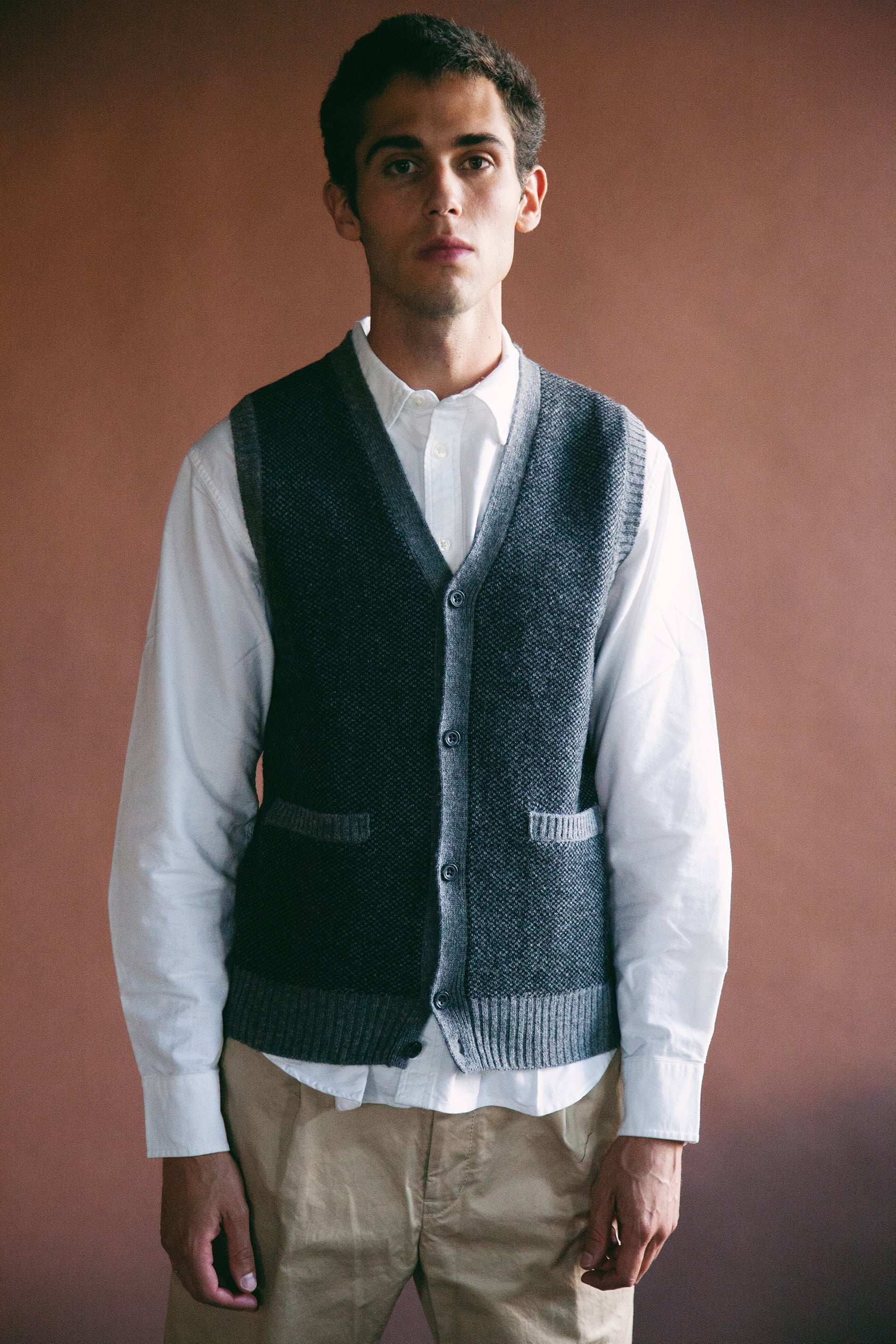 beams plus Argyle Knit Vest - Grey