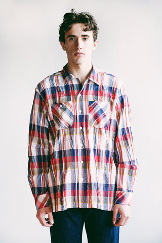 engineered garments Classic Shirt - Red White Cotton Crepe Check