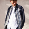 Loiter Jacket - Navy/Grey Mini Gingham Big Stripe