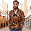 Ranch Shawl Cardigan - Brown & Indigo