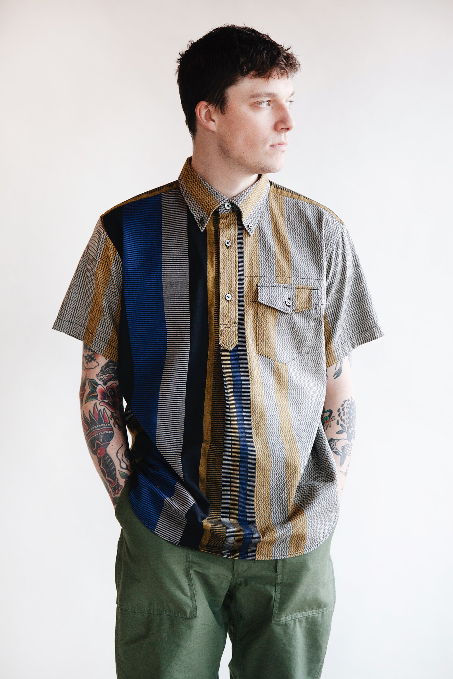 Engineered Garments - Popover BD Dobby Shirt - Yellow/Grey - Canoe Club