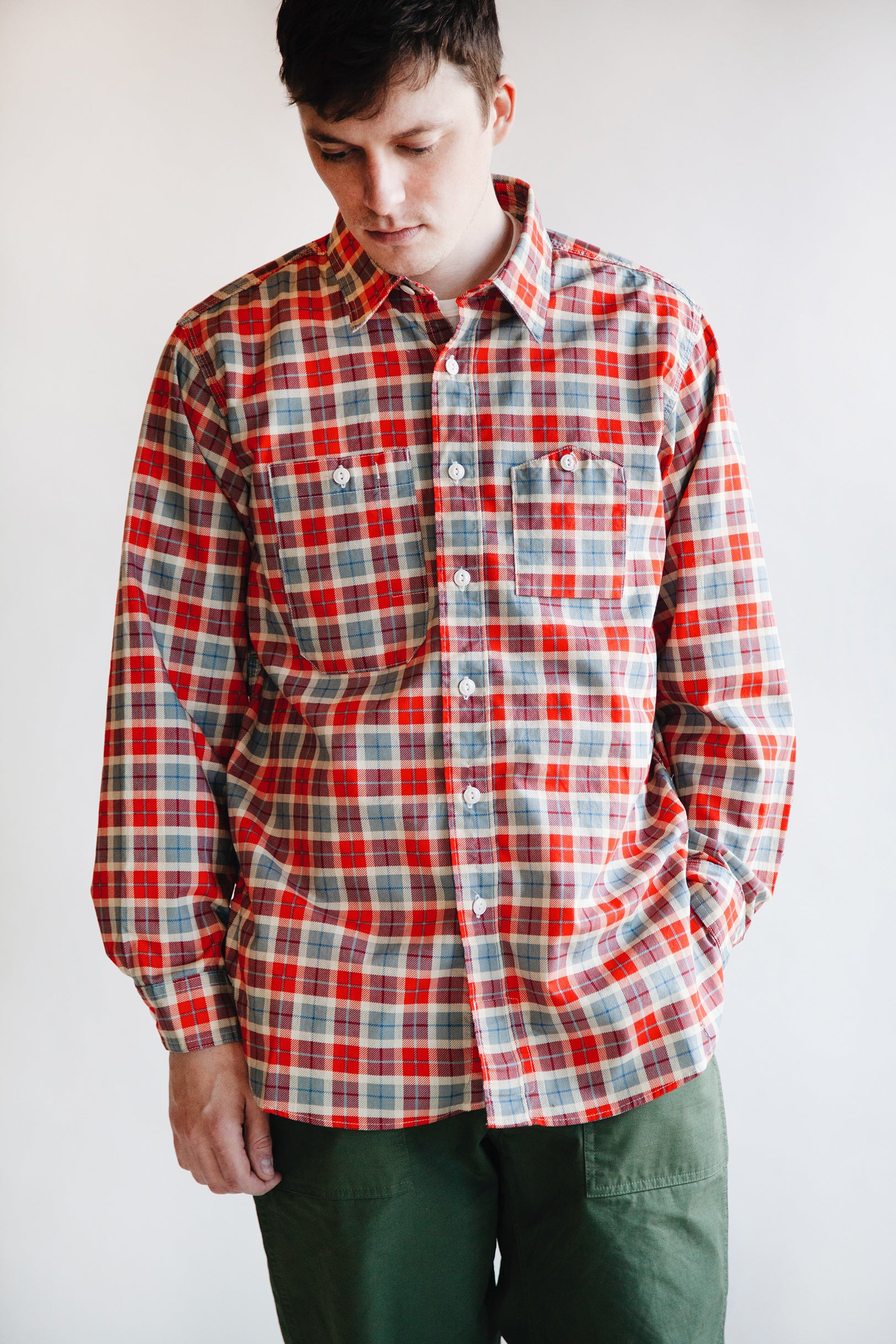 Engineered Garments - Work Shirt - Red/Beige Printed Plaid - Canoe Club