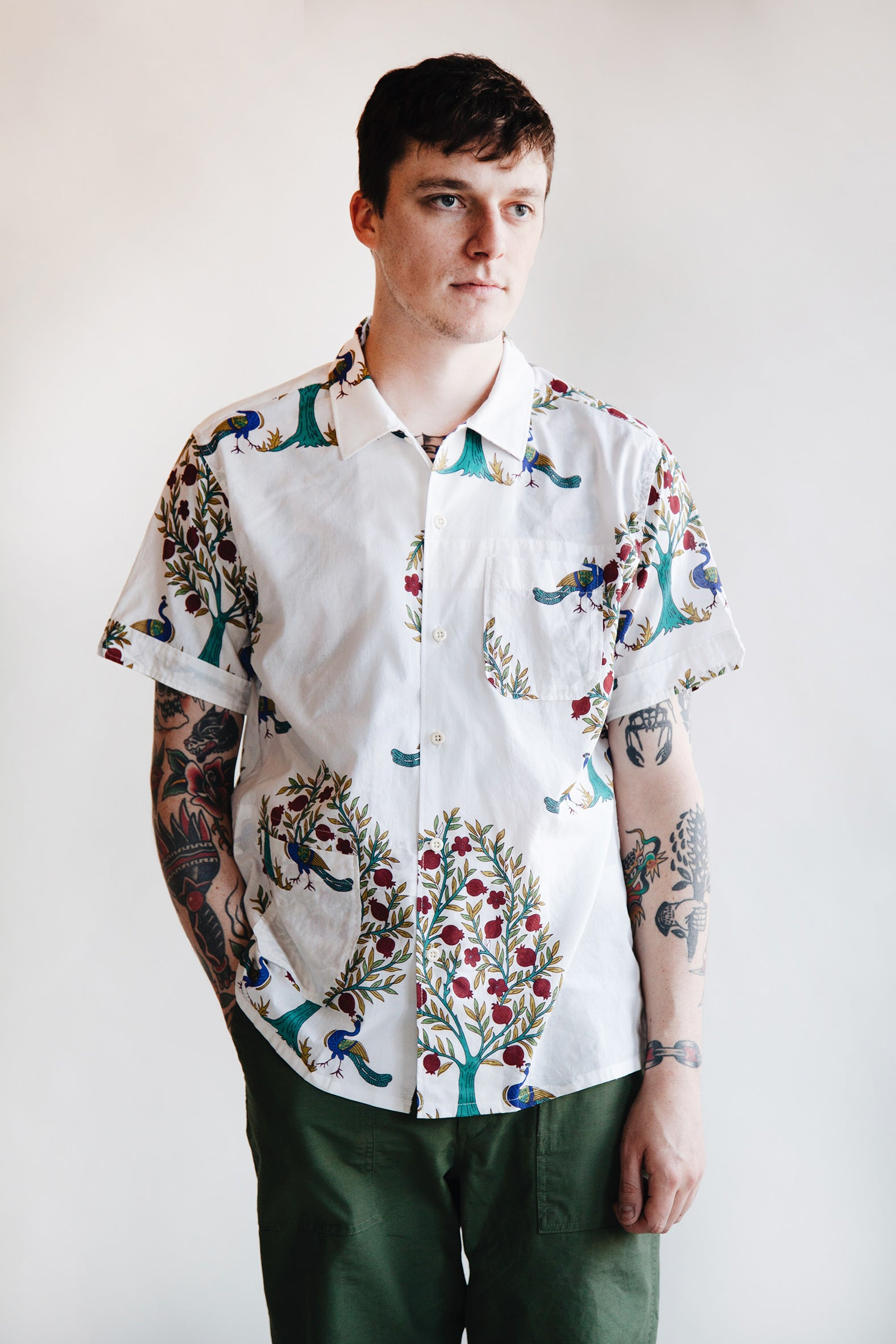 Engineered Garments - Camp Shirt - Peacock Print - Canoe Club