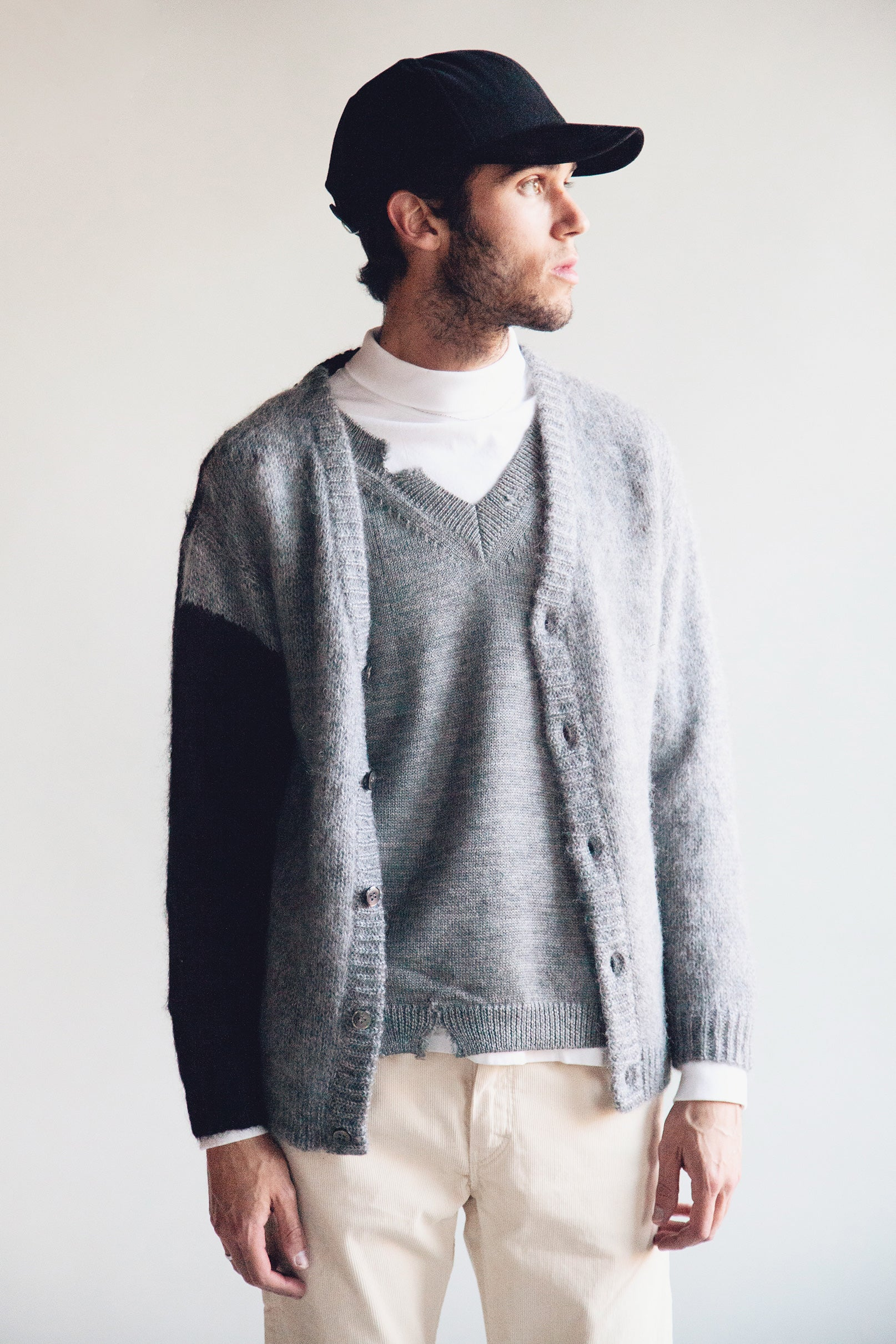 noma t.d. Hand Knitted Mohair Cardigan - Black/Gray