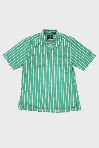 gitman bros vintage Cotton/Linen Awning Stripe camp shirt - Green