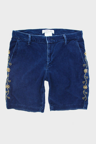 Sulfureted Corduroy Shorts with Flower Studs