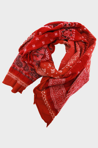 kapital Compressed Wool Scarf Bandana Patchwork - Red