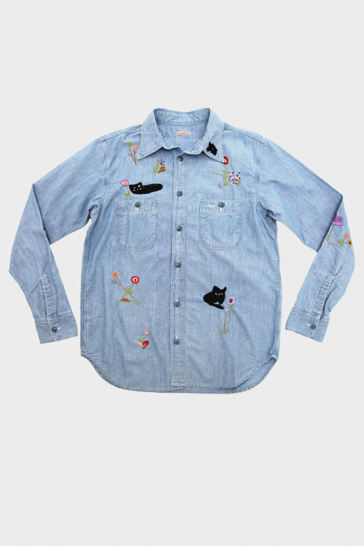 Kapital - Chambray Work Shirt (Cat Embroidery) - Sax - Canoe Club