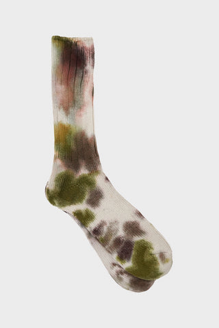 anonymous ism Scatter Dye Crew socks - Olive