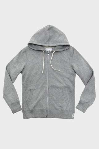 Mid Weight Terry Full Zip Hoodie - Heather Grey