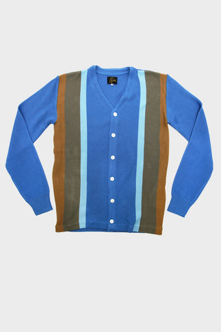 needles clothing japan 4 colors stripe v neck cardigan in blue full frontal image