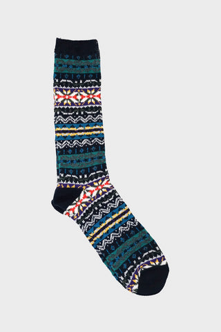 anonymous ism FairIsle Crew socks - Navy
