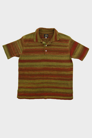 needles polo sweater splashed in olive and brown full frontal image