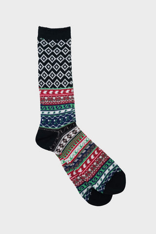 anonymous ism Fairisle Jacquard Crew socks - Black