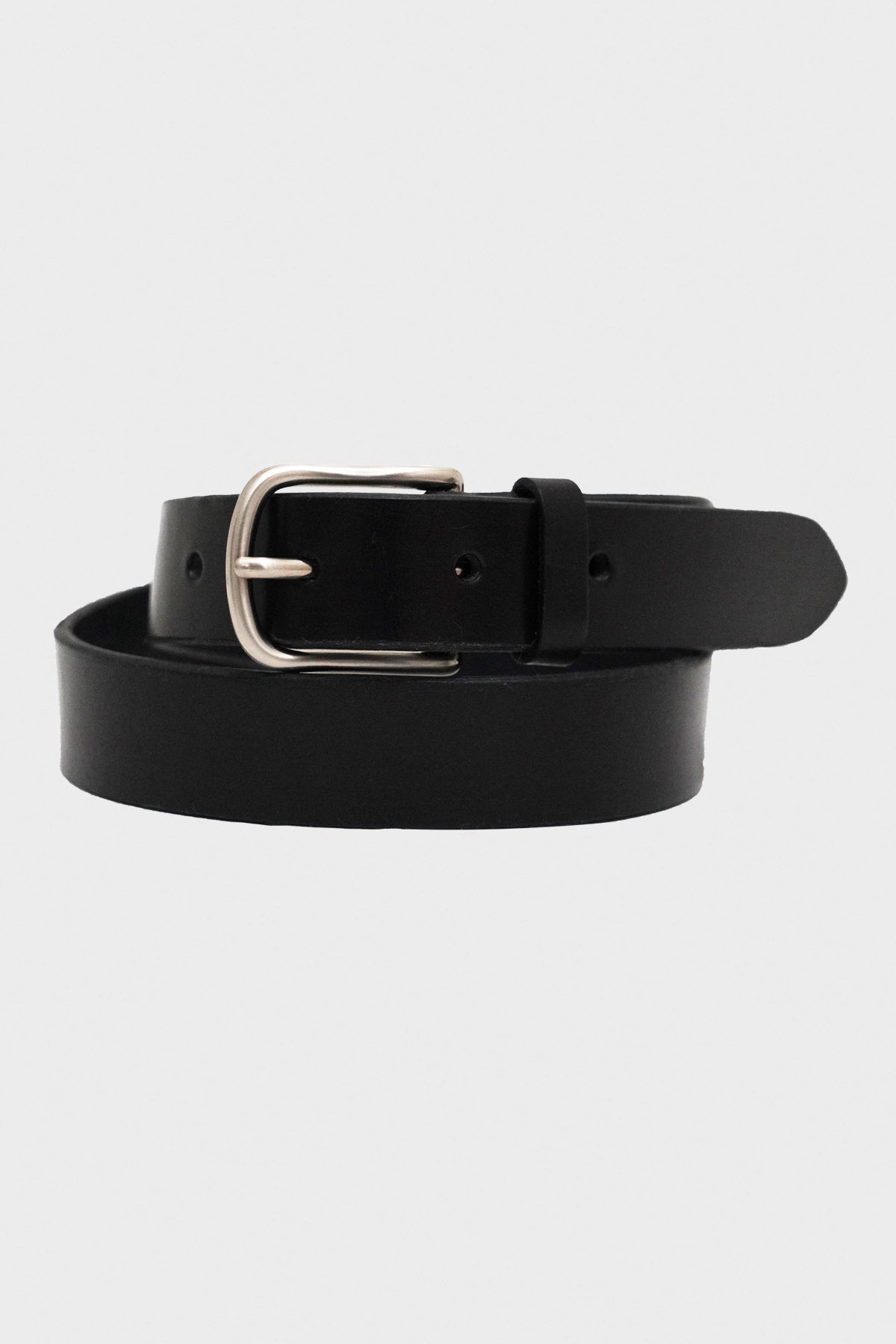 laperruque Belt - Black Leather and Nickel Buckle