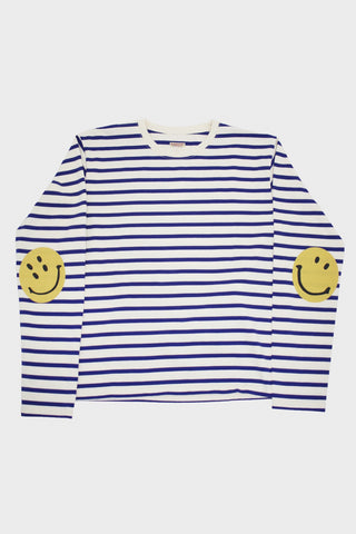 Kapital Border Jersey SMILIE Patch Tee - Ecru/Blue