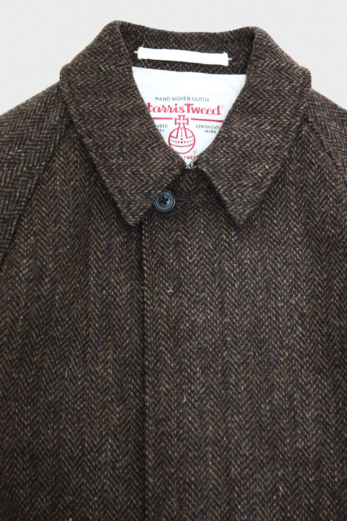 Beams Plus - Balmacaan Coat Harris Tweed - Brown Herringbone - Canoe Club
