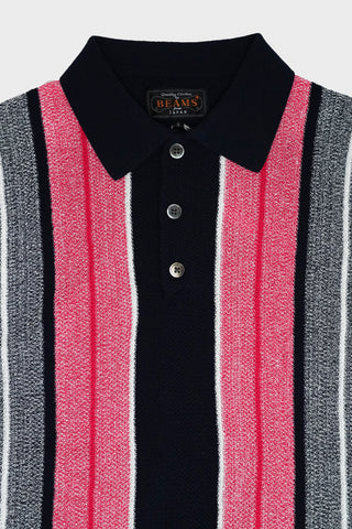 Beams plus Knit Polo Stripe - Navy