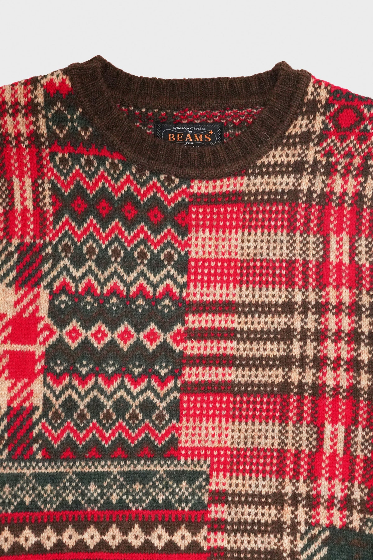 Patchwork Jacquard Sweater - Brown/Red