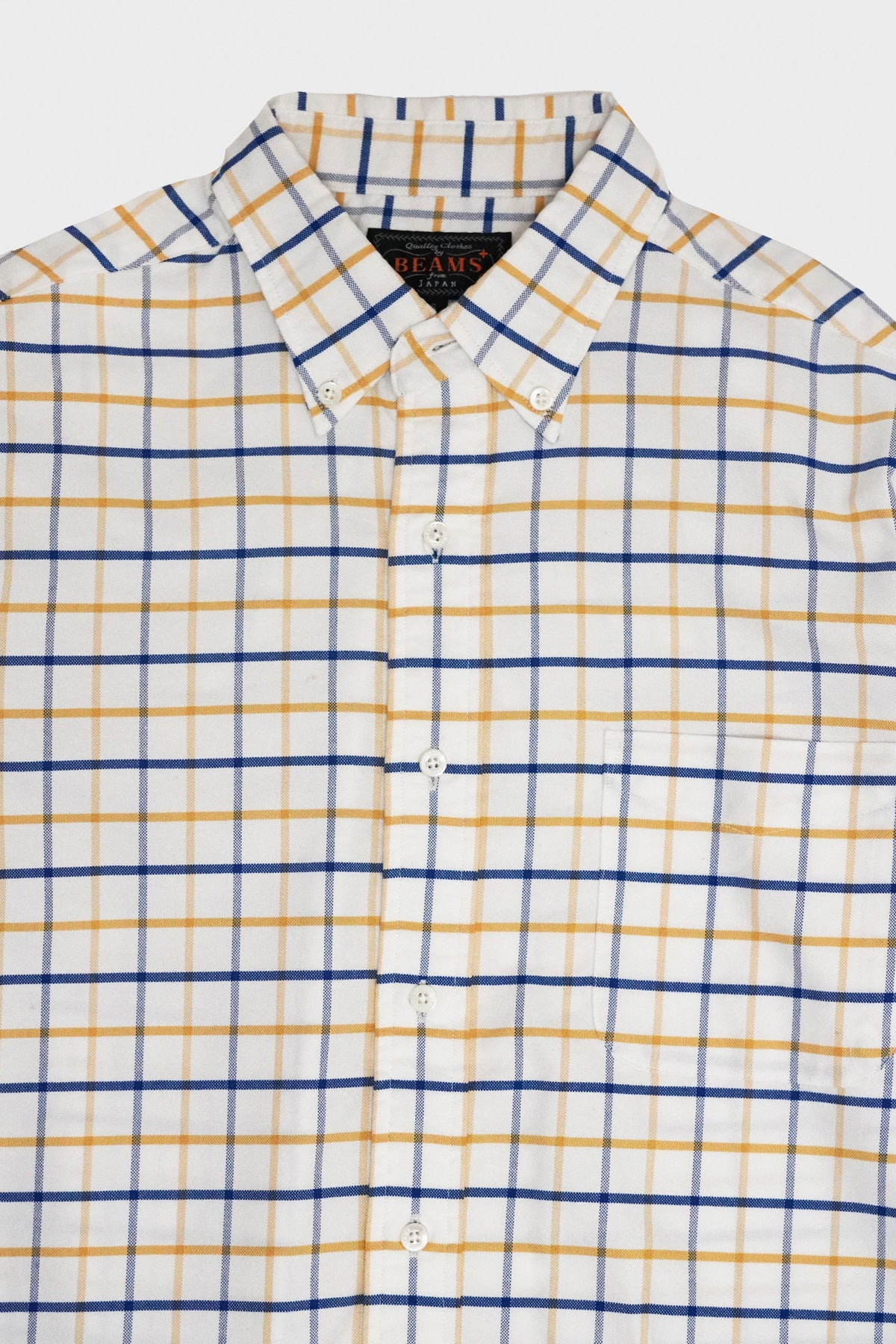 Beams Plus - Tattersall Stretch Oxford Shirt - Yellow - Canoe Club
