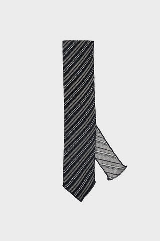 engineered garments Knit Tie - Grey/Black Silk Diagonal Stripe