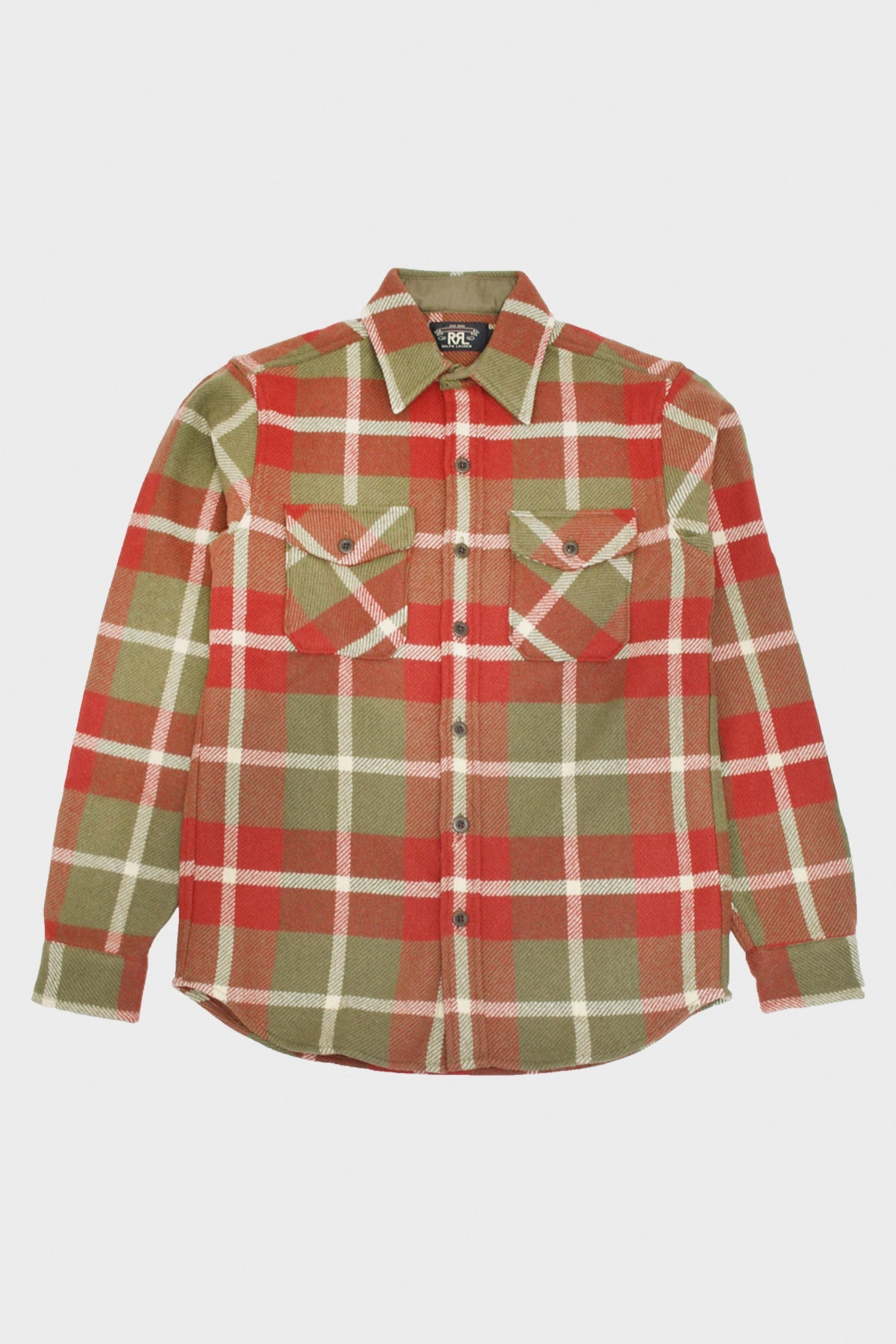 RRL - Suede Elbow Wool Overshirt - Red/Tan - Canoe Club