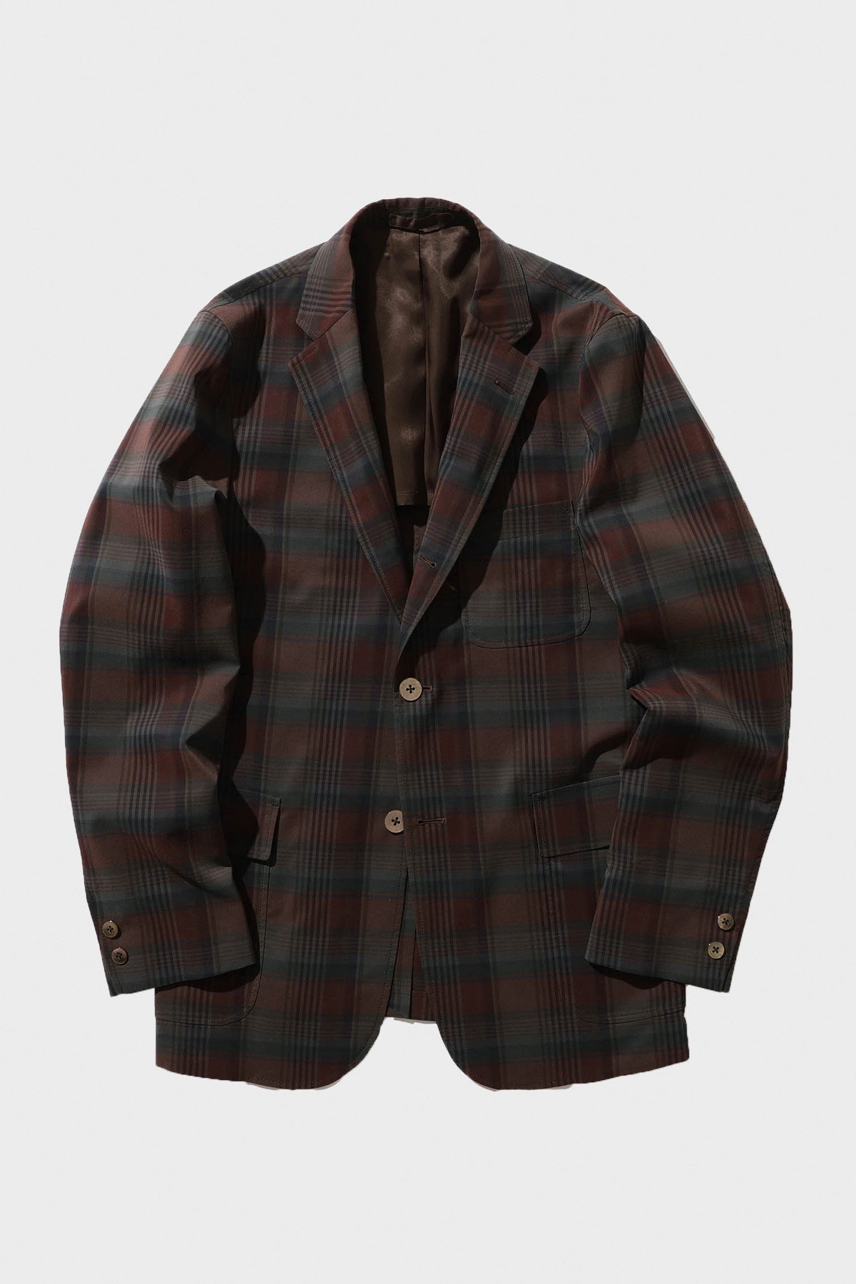 Beams Plus - 3 Button Check Jacket - Burgundy - Canoe Club