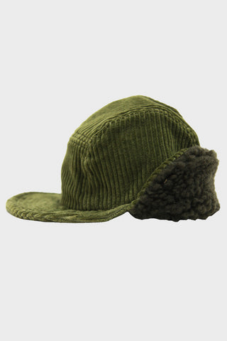 Corduroy Cap with Quilted Lining - Olive
