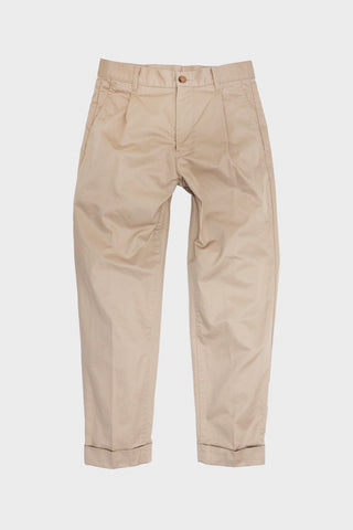 beams plus Single Pleat Twill  Pants - Beige