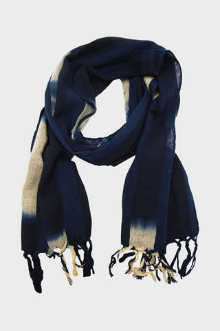 Scarf - Karu-Ori Indigo with Natural Fade
