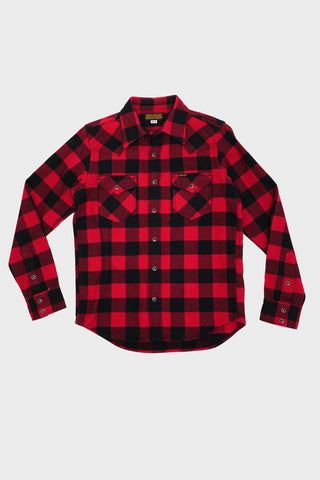 iron heart IHSH-232 Ultra Heavy Flannel Western Shirt Buffalo Check - Red/Black