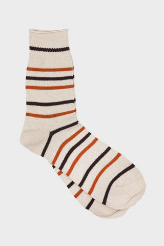 anonymous ism Recycled Cotton Stripe socks - Brown/Mustard