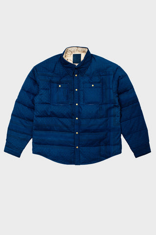 visvim indigo camping trading post find your happiness I.C.T. Kerchief Down Jacket - Indigo