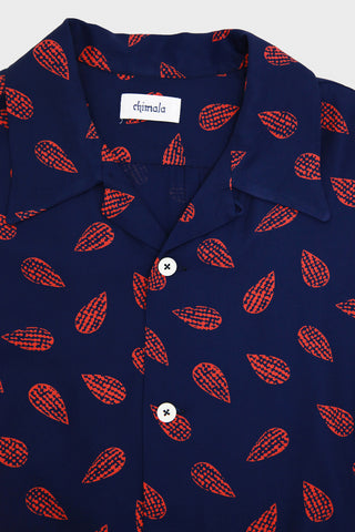 Chimala Leaf Print Aloha Shirt - Navy