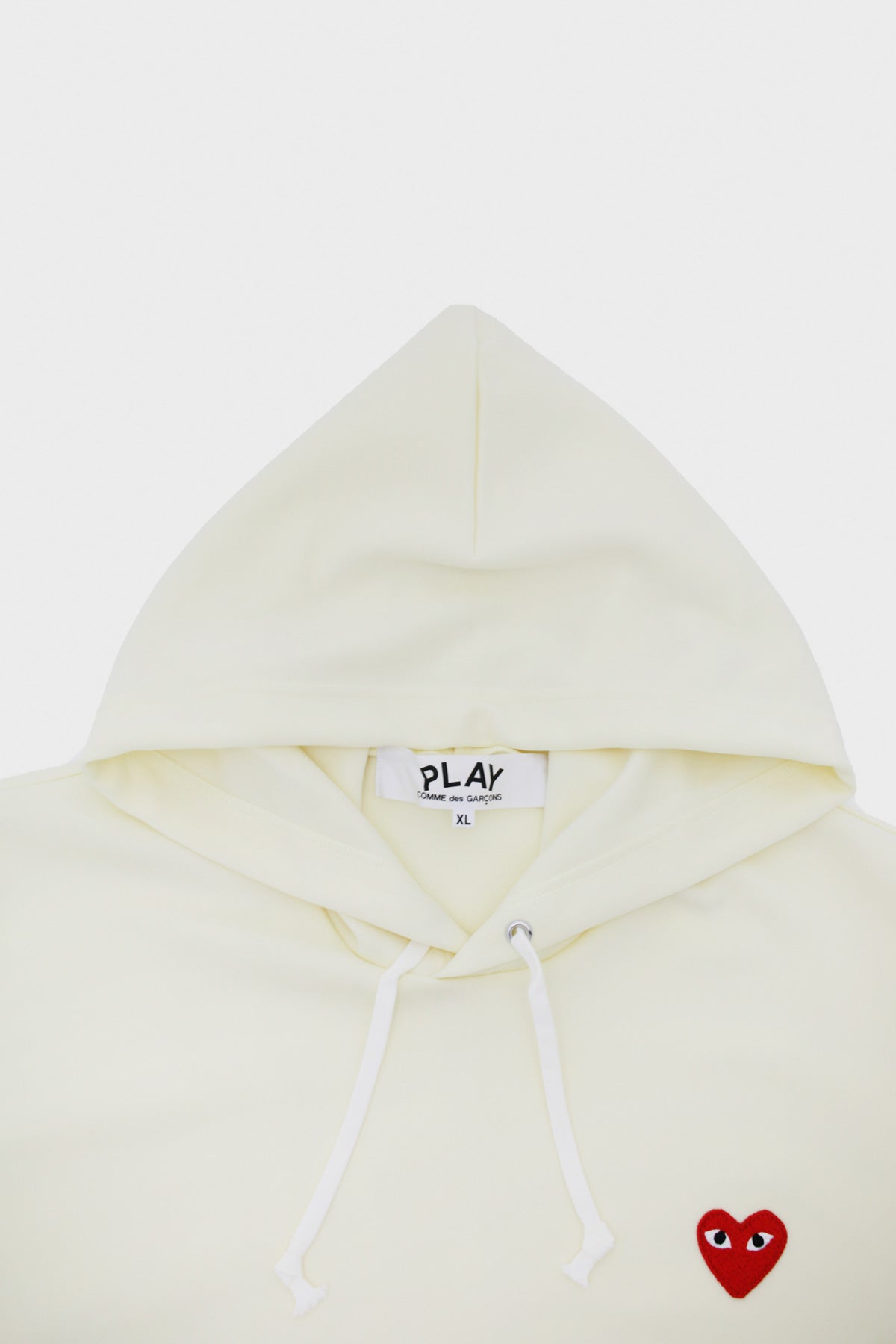 Comme des Garçons PLAY - Red Heart Hooded Sweatshirt - Ivory - Canoe Club