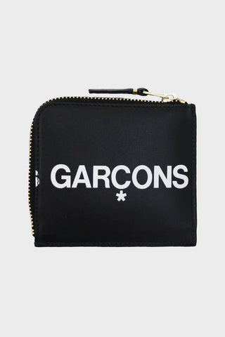 comme des garcons wallet Huge Logo Half Zip Wallet - Black