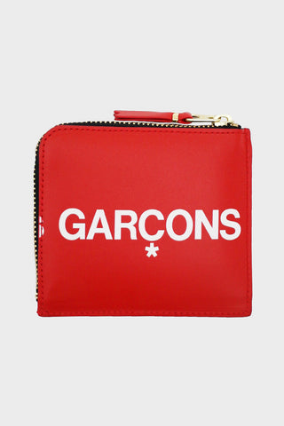 comme des garcons wallet Huge Logo Half Zip Wallet - Red