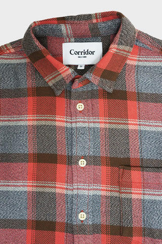 corridor clothing nyc Blanket Plaid Twisted Yarn Shirt - Clay