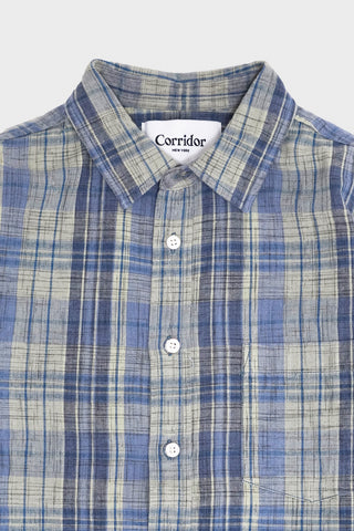 corridor clothing nyc Hemp Plaid Long Sleeve - Blue