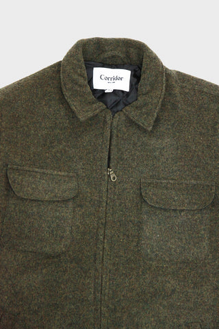 corridor nyc Lambswool Zip Front Winter Jacket - Loden