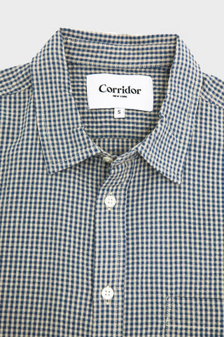 corridor clothing nyc Seersucker Gingham Shirt - Blue