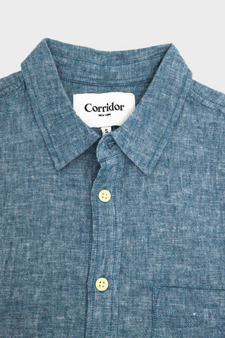 corridor clothing nyc Summer Linen Chambray Shirt - Blue